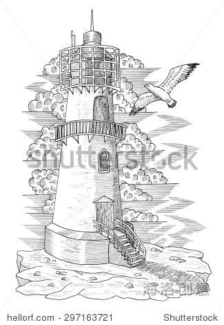 海鸥的灯塔,手绘雕刻插图