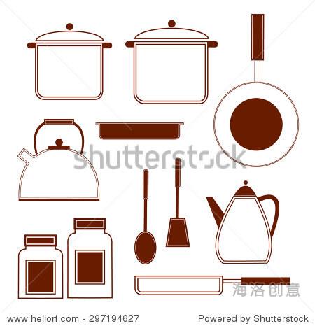 烹饪锅,平底锅,象征,厨房用具.矢量图