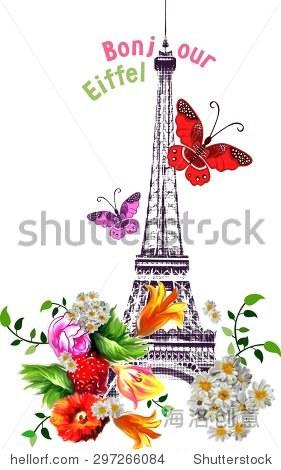 向量bonjour埃菲尔铁塔用玫瑰和蝴蝶