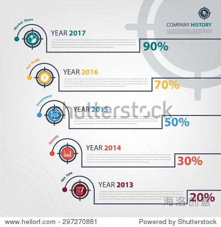 company timeline milestone report infographic Vector eps10