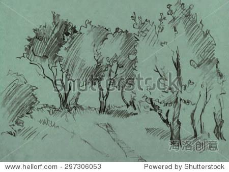 片落叶树木,涂石墨铅笔在绿色背景,手绘草图的景观,矢量插图