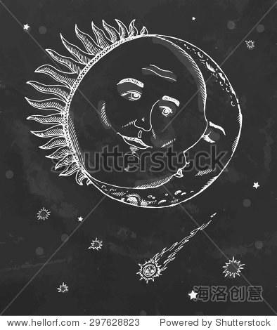 复古太阳和月亮与星星和彗星睡觉.手绘草图在黑板上.矢量插图.
