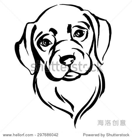 手绘插图的画像狗拉布拉多.黑色和白色