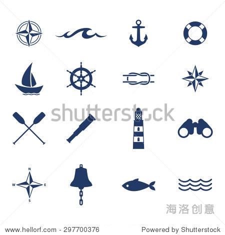 的航海海海洋航行图标.指南针锚轮贝尔鱼灯塔的象征.矢量插图.