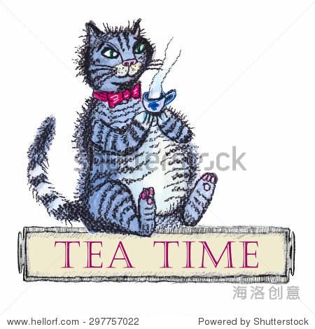 猫把一杯热茶的绅士形象.有趣的卡通手绘.