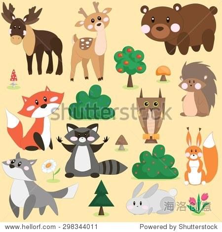 矢量插图的可爱的森林动物卡通风格
