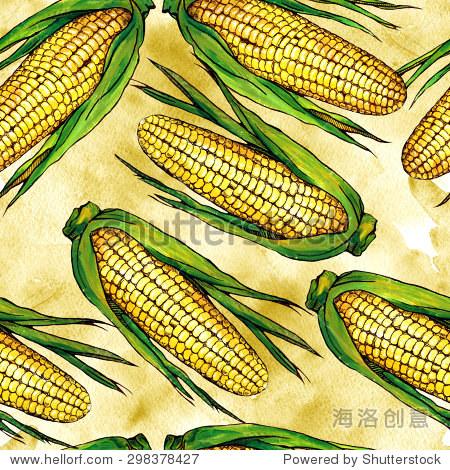 无缝水彩模式与玉米在纸上手绘纹理背景