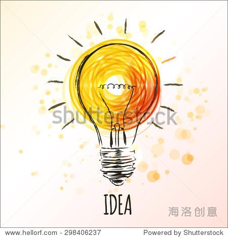 灯泡素描的概念想法 手绘涂鸦的迹象 矢量图 教育,科学 站酷海洛