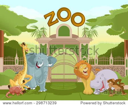 动物园场景彩色简笔画内容图片展示