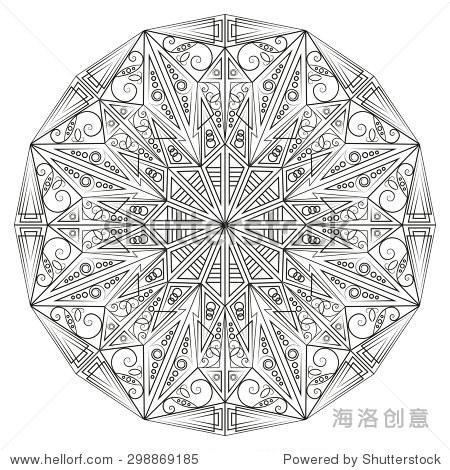 黑白圆民族图案.为设计元素