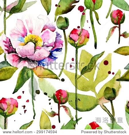 无缝的花卉图案与牡丹水彩背景.#