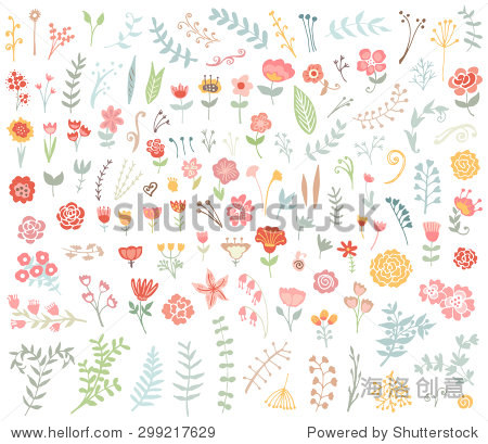 花的手绘花朵和树叶收集古董.向量.素描艺术插图.