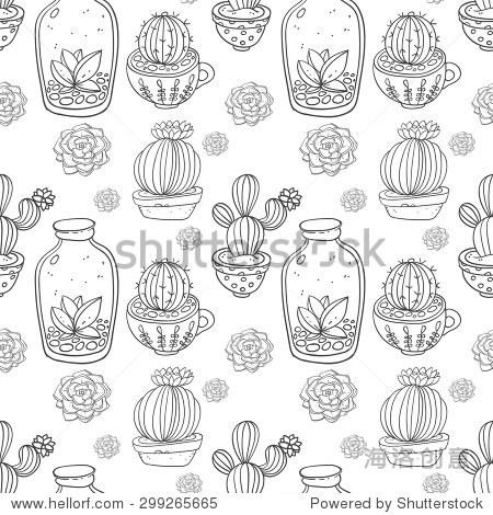 仙人掌和多肉植物矢量手绘无缝模式