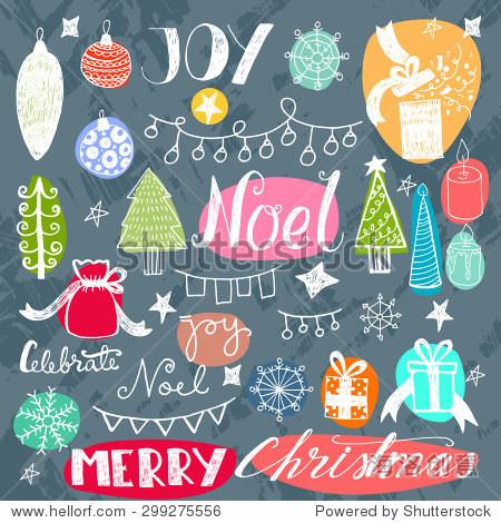 的手绘涂鸦新年快乐图标.圣诞节向量元素