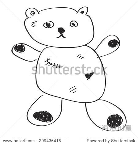 简单的手绘涂鸦的泰迪熊 - 符号/标志,其它 - 站酷,,.