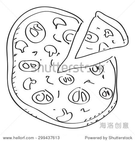 简单的手绘涂鸦的披萨 - 符号/标志,其它 - 站酷海洛
