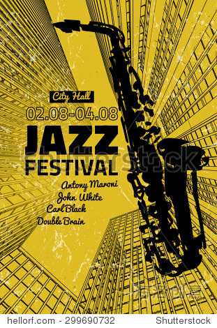 矢量图的爵士乐与手绘海报背景模板萨克斯管.现代图形