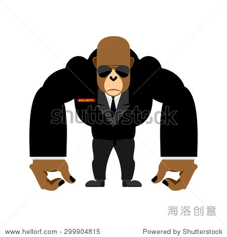 保安大大猩猩黑色西装.保镖的动物.矢量图