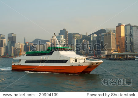 Ferry in Victoria Harbor, Hong Kong