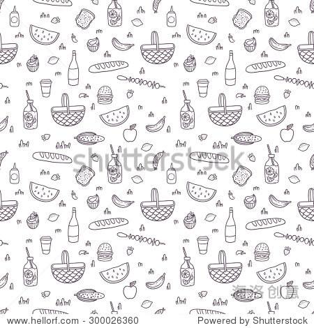 可爱的卡通手绘野餐无缝黑白模式.向量食品剪贴画.