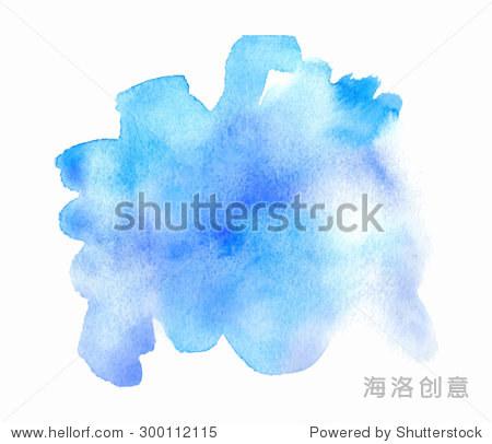 蓝色紫罗兰色的水彩手绘隔离纸纹理污点白色背景.湿刷
