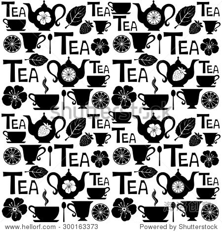 无缝模式茶壶和茶杯.矢量图
