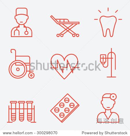 医学图标,细线的风格,平面设计