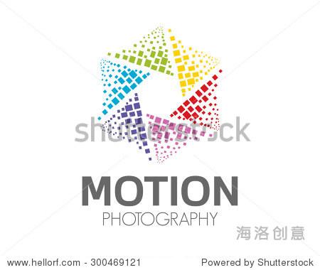 abstract photography logo design . hexagonal loop图片