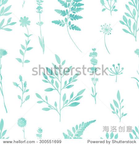手画水彩油墨叶子无缝花卉图案矢量背景.树叶和花朵植物的模式