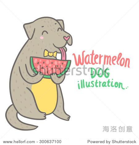 鲜的西瓜 可爱的动物剪贴画 动物 野生生物,食品及饮料 海洛创意