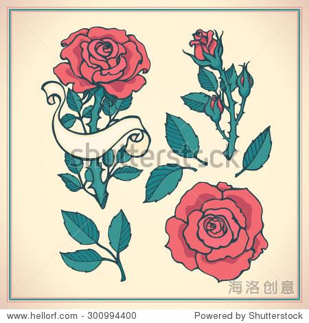 纹身.图形矢量插图的玫瑰.手绘艺术作品.