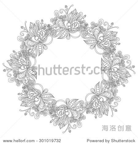 漂亮的手绘古典花卉涂鸦华丽的圆形框架,孤立在白色背景.
