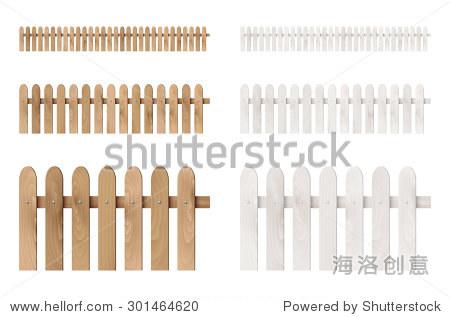 的木栅栏孤立在白色背景.矢量插图.