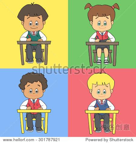 卡通可爱的男孩和女孩在学校校服/学前幼儿园.