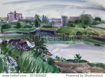 农村亚博体育在线水彩画在湿纸上令人讨厌的一天