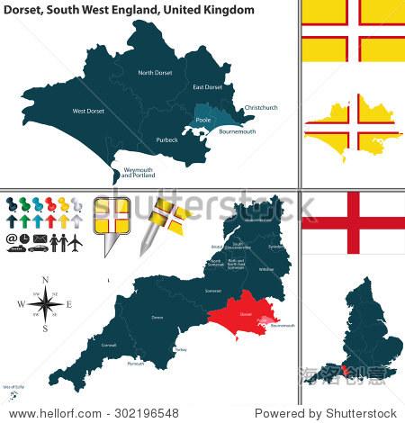 向量在南西英格兰多塞特郡的地图,与地区和英国国旗图片