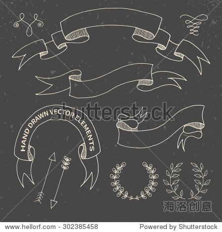 树枝 丝带 粉笔画 黑板纹理 的矢量插图 符号 标志,复古风格 站酷