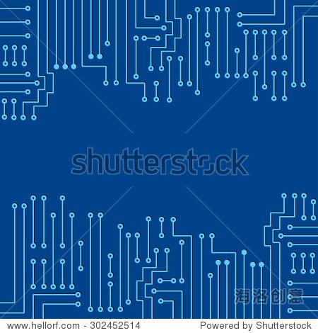 现代电子电路在蓝色背景图