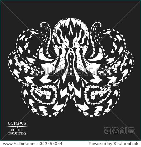动物的集合.黑白手绘涂鸦.民族图案矢量图.非洲,印度,图腾纹身设计.