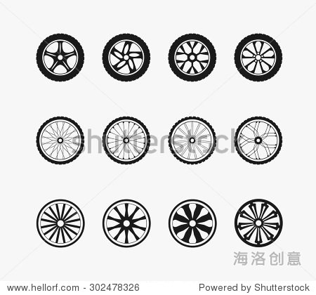 自行车车轮,车轮和木制轮子.轮和运输,汽车设备,矢量插图
