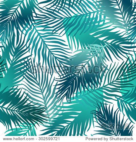无缝的异国情调的模式与热带树叶.矢量图