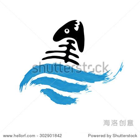 在水中鱼骨头,矢量标志说明