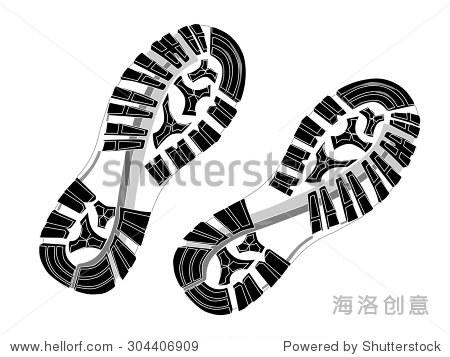 印鞋底的鞋子.矢量插图,eps 10. - 符号/标志,运动