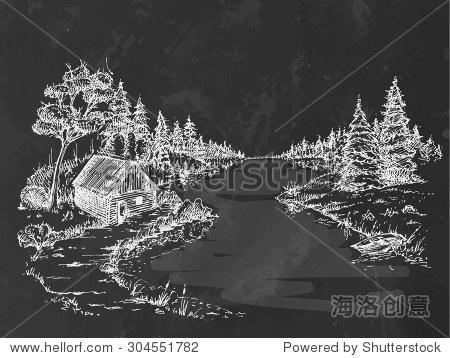 粉笔画河森林.美丽的风景.矢量图