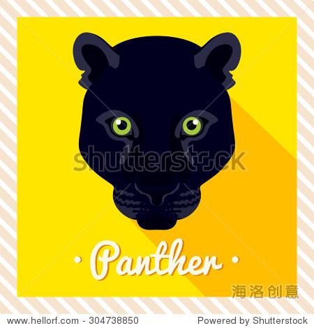 对称的动物的画像.矢量插图,贺卡,海报.图标.动物的脸.字体的题词.