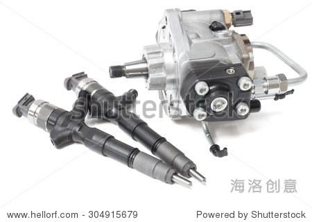 喷油器电磁阀对柴油在白色的背景