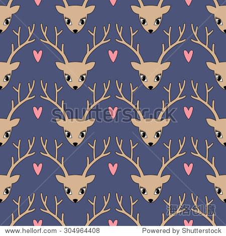 可爱的鹿心背景为寒假.快乐圣诞插图.鹿头轮廓无缝