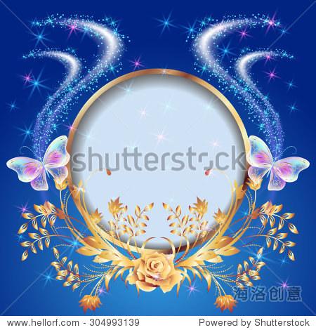 透明蝴蝶飞着金色点缀,圆形框架和发光的烟花