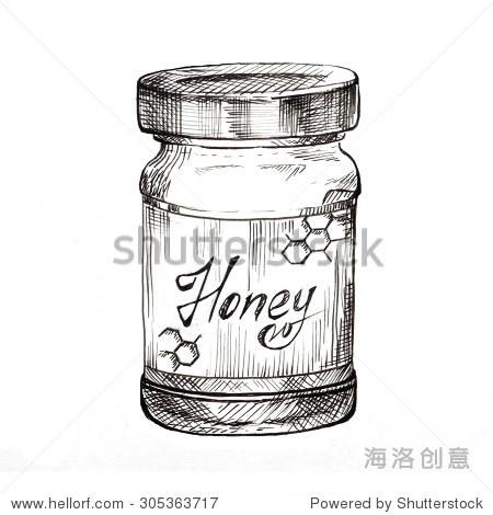 手绘蜂蜜罐子墨水草图.传统轮廓的风格,孤立.