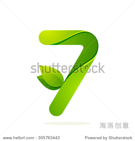 number seven with green leaves. vector design图片